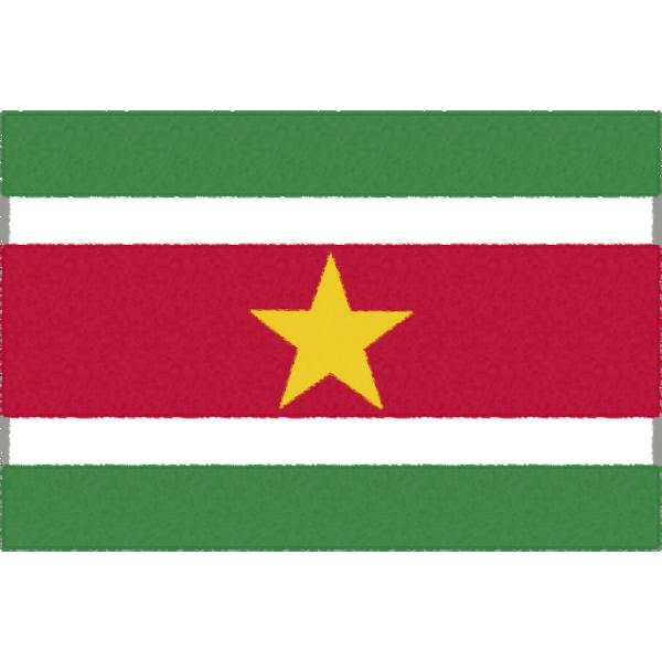 スリナムの国旗イラストフリー素材