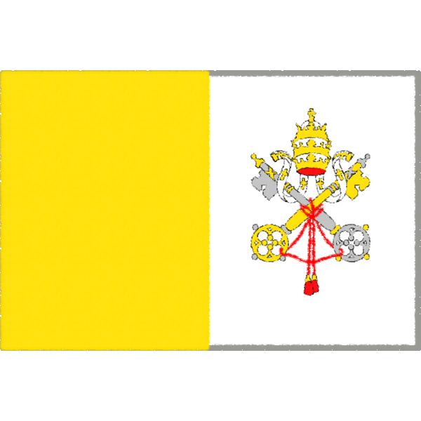 バチカン市国の国旗イラストフリー素材