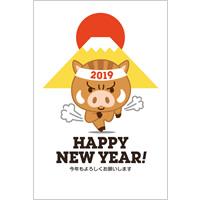 2019年賀状デザイン無料テンプレート「猪突猛進するイノシシのランナー」
