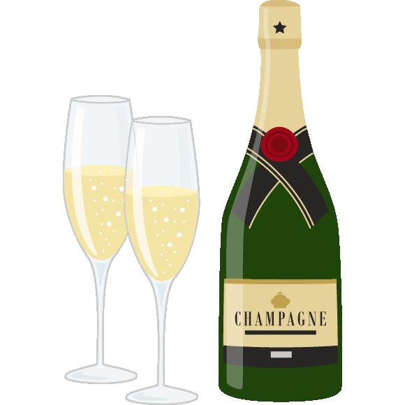 シャンパン(スパークリングワイン)のイラスト