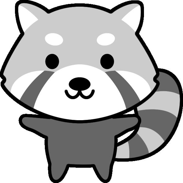 レッサーパンダのイラスト(白黒)