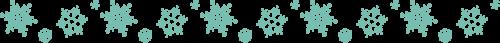 雪の結晶のライン飾り罫線(ターコイズブルー)