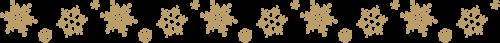 雪の結晶のライン飾り罫線(ゴールド)