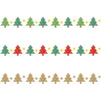 クリスマスツリーのライン飾り罫線