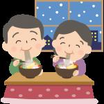 年越しそばを食べる夫婦のイラスト