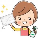 拭き掃除をする女性のイラスト