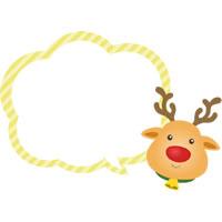 クリスマスの吹き出しイラスト(トナカイ)