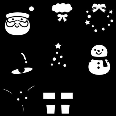 クリスマスアイコンセット(白黒)