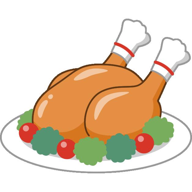 ローストチキン(鶏の丸焼き)のイラスト