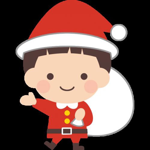サンタクロースの格好をした男の子のイラスト