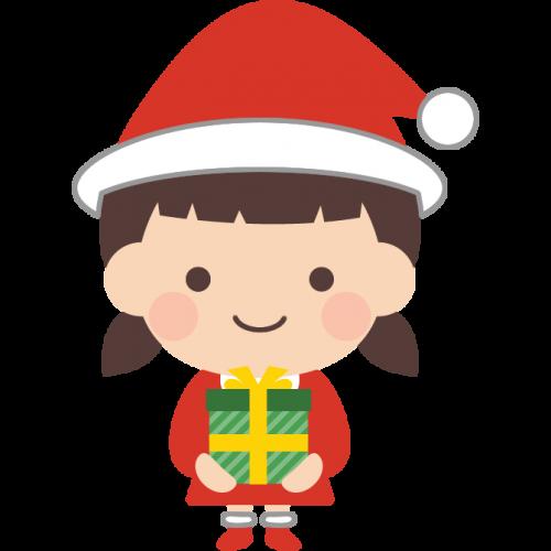 サンタクロースの格好をした女の子のイラスト