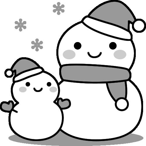 雪だるまの白黒イラスト