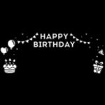 誕生日の白黒フレーム飾り枠イラスト