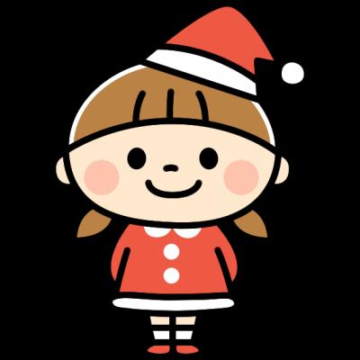 サンタさんの衣装を着たかわいい女の子のイラスト
