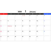 2020年エクセルカレンダー(日曜始まり)