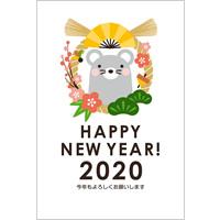 2020年賀状デザイン無料テンプレート「しめ縄とかわいいねずみ」