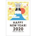 2020年賀状デザイン無料テンプレート「富士山に登ったかわいいねずみと初日の出」