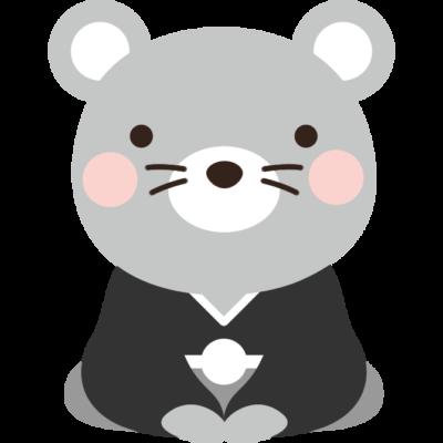 紋付袴を着たねずみのイラスト