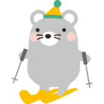 スキーをするねずみのイラスト