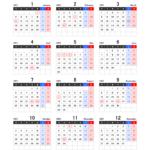 2021年エクセル年間カレンダー(月曜始まり)