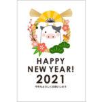 2021年賀状デザイン無料テンプレート「しめ縄とかわいいウシ」