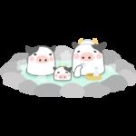 露天風呂(温泉)に入るウシのイラスト