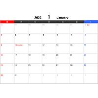 2022年エクセルカレンダー(日曜始まり)