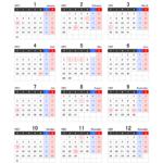 2022年エクセル年間カレンダー(月曜始まり)