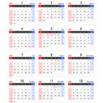 2022年エクセル年間カレンダー(日曜始まり)