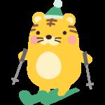 スキーをするトラのイラスト